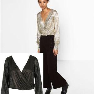 NWT Zara Keira Black Faux Wrap Top Size Large